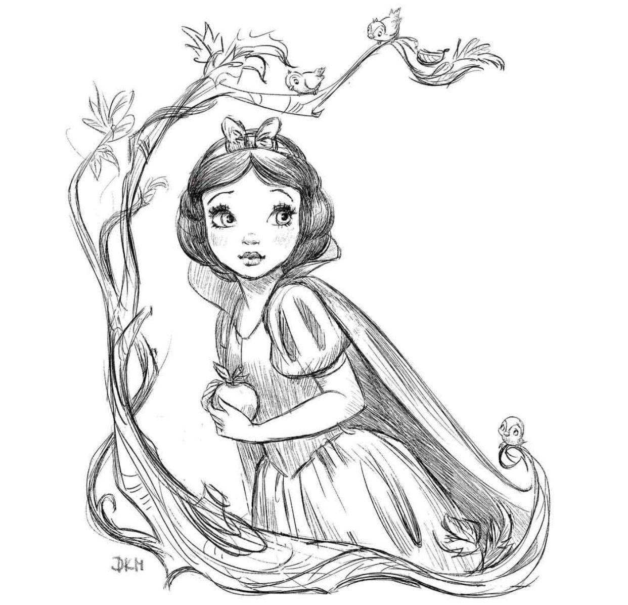 Snow White Sketch - Dorota Parasol | Dessins Disney, Dessin destiné Blanche Neige A Colorier