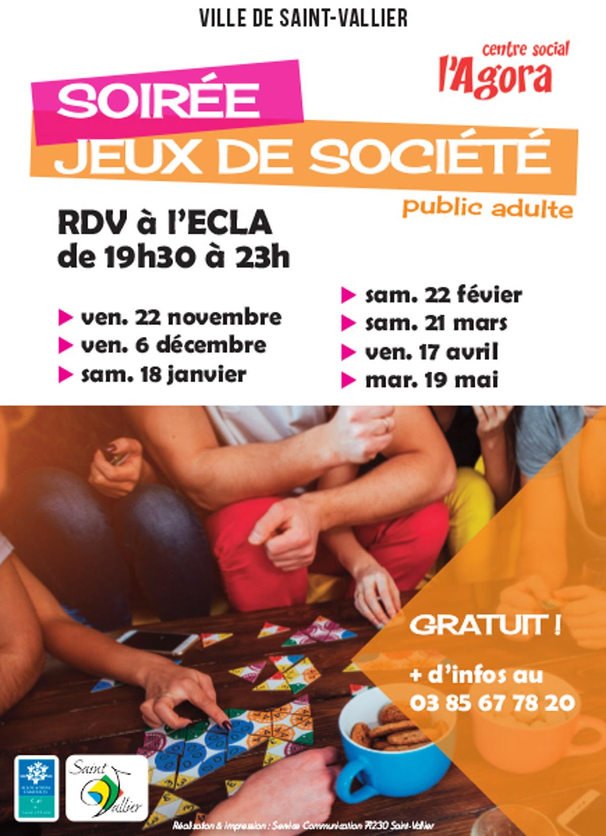Soiree Jeux De Societe : Rencontre, Conference A Saint Vallier serapportantà Jeux Societe Gratuit