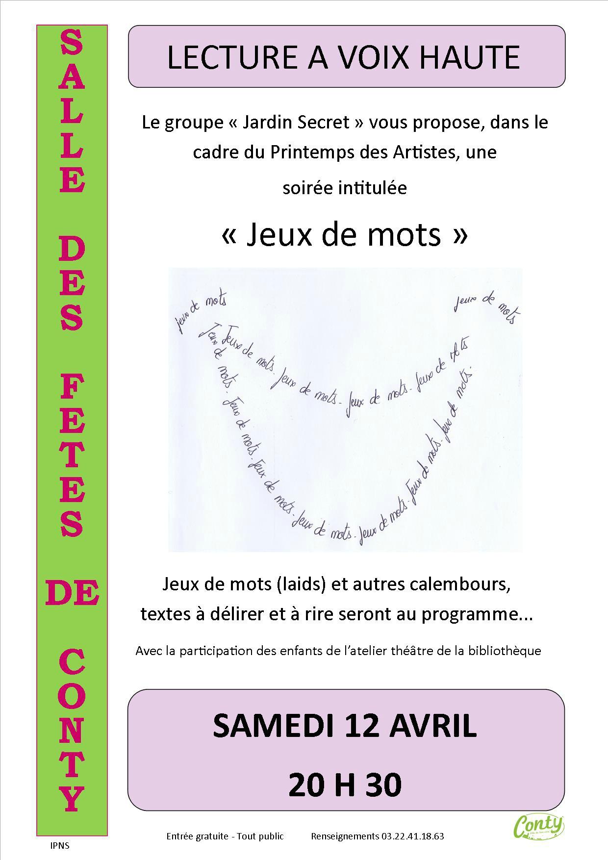 """Soirée Lecture À Voix Haute """"jeux De Mots"""" - Médiathèque dedans Jeux De Mots Enfants"""