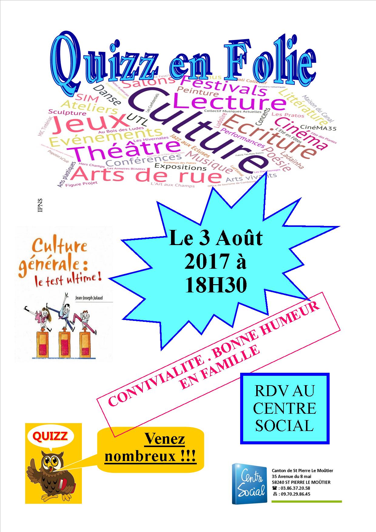 Soirée Quizz En Folie - Centre Social Du Canton De St Pierre pour Quizz Pour Maternelle