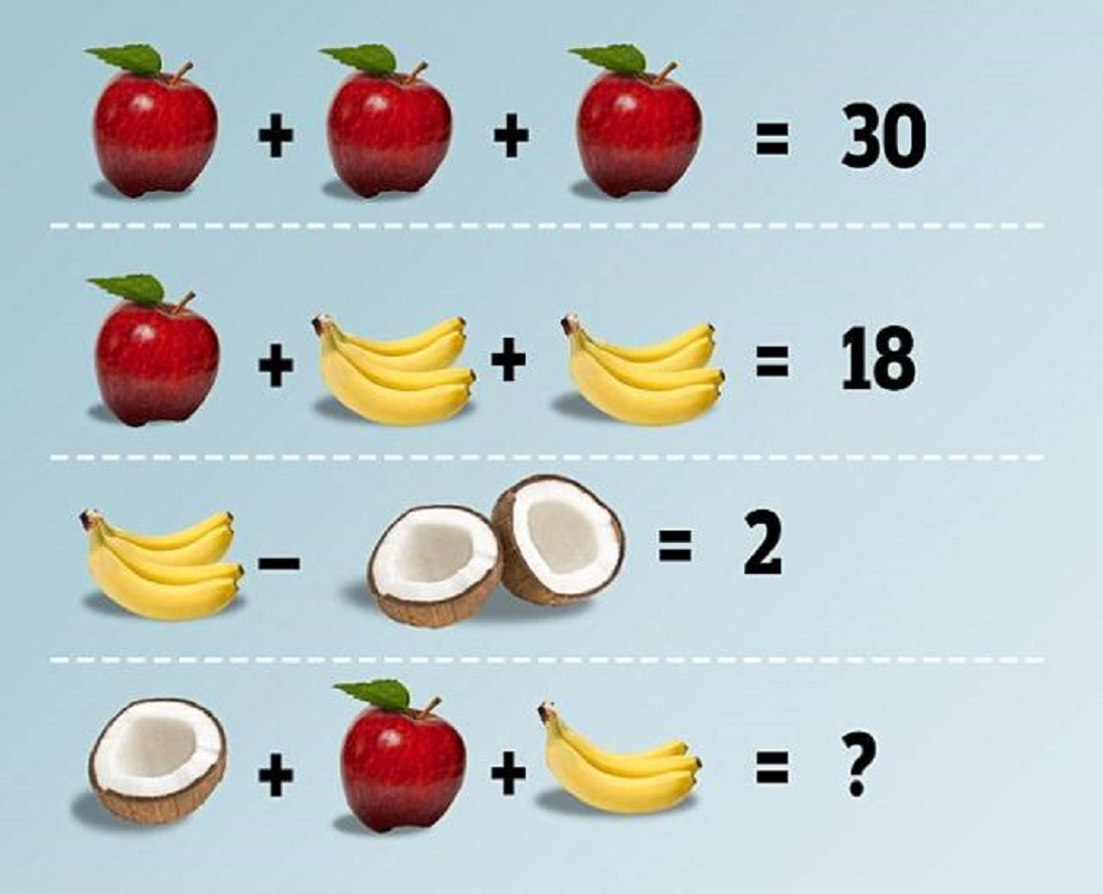 Solution De L'équation Pomme Banane Et Noix De Coco avec Rébus Facile Avec Réponse