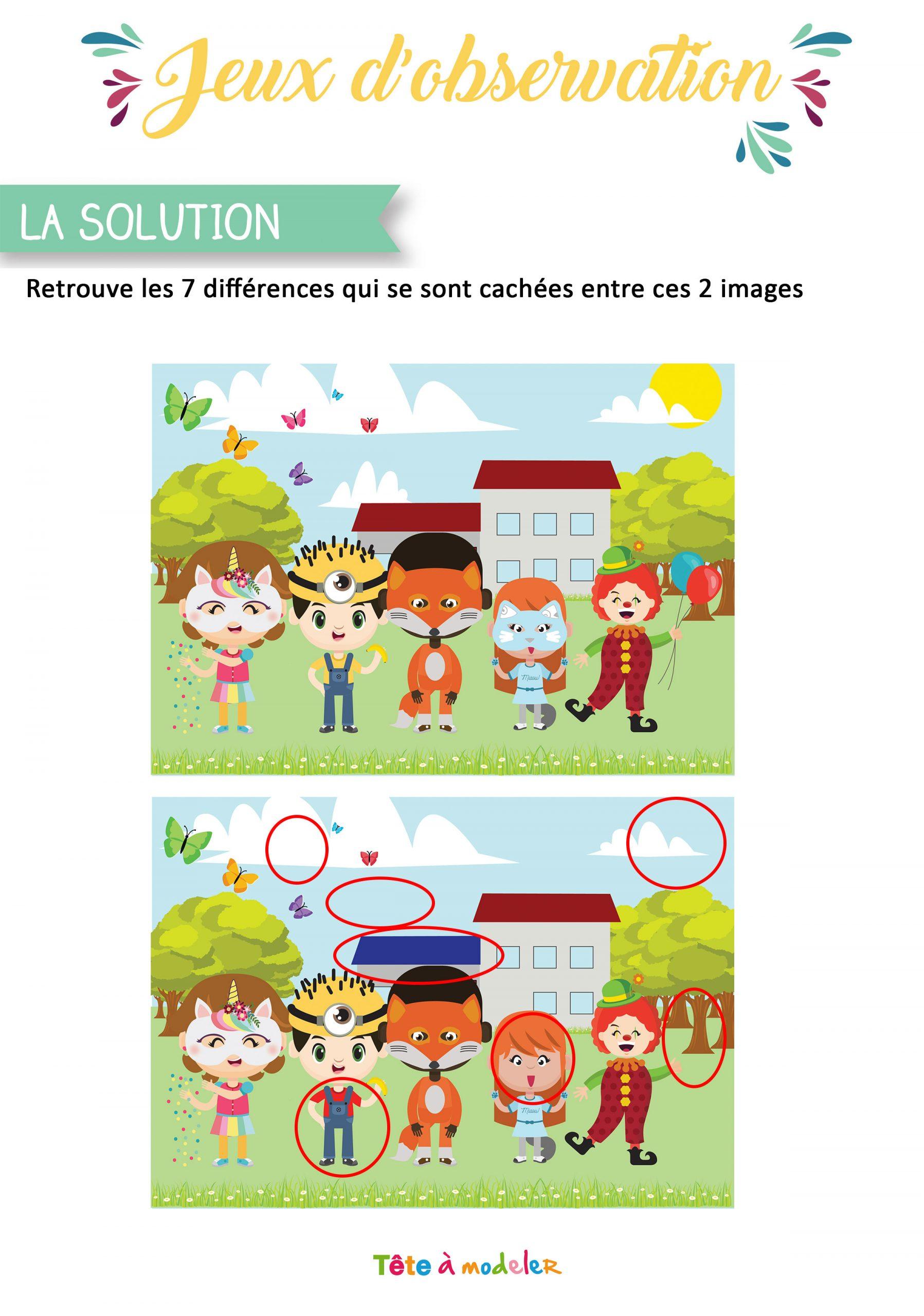 Solution Du Jeu Des 7 Différences Du Carnaval intérieur Telecharger Jeux Enfant