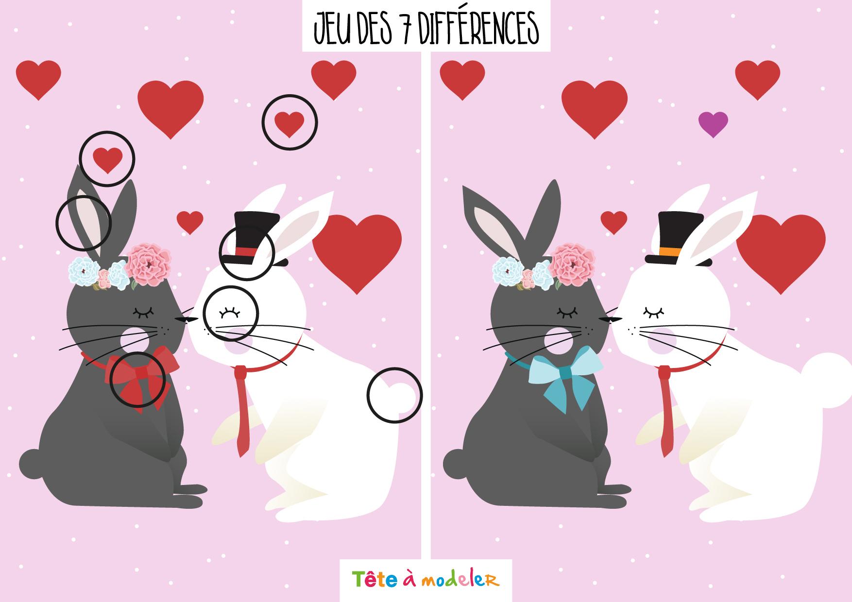 Solution - Jeu Des 7 Différences De La Saint Valentin avec Jeu Des 7 Différences À Imprimer