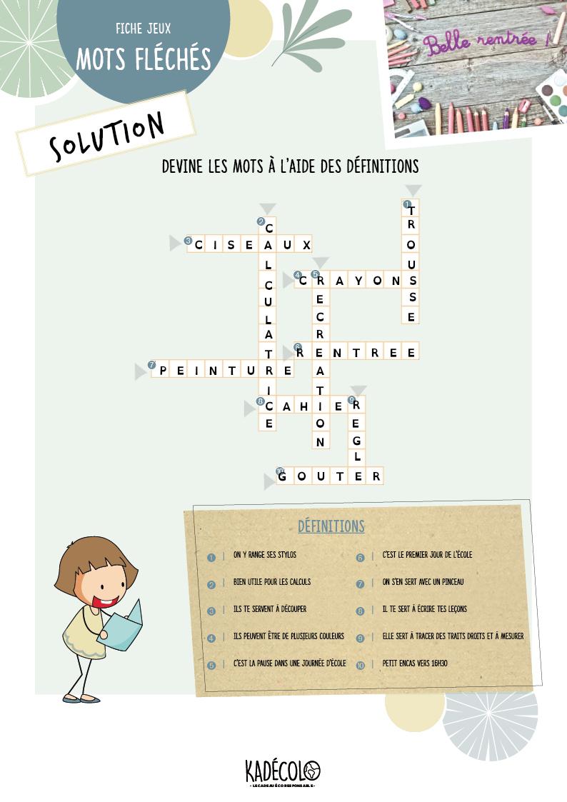 Solution Jeu Enfant Aout avec Mots Fleches Solution