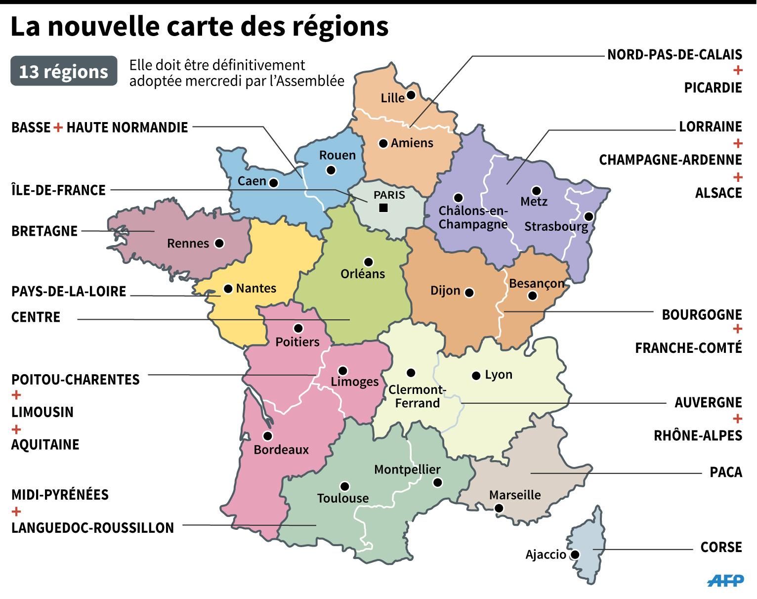 Sondage : Les Français Très Partagés Face Aux Nouvelles Régions intérieur Carte Des 13 Nouvelles Régions De France