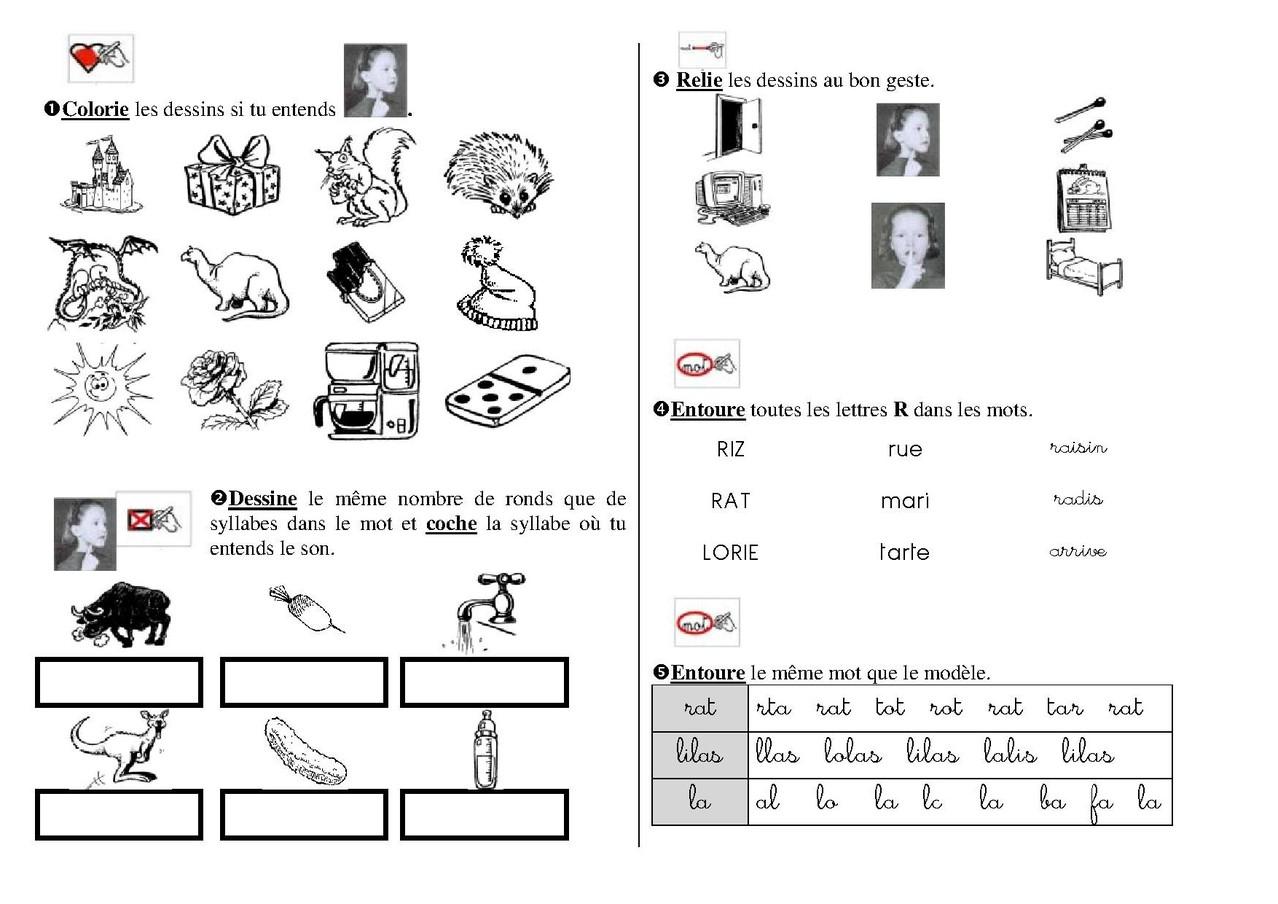 Sons Simples : Exercices - Fiches De Préparations (Cycle1 dedans Exercice Graphisme Cp
