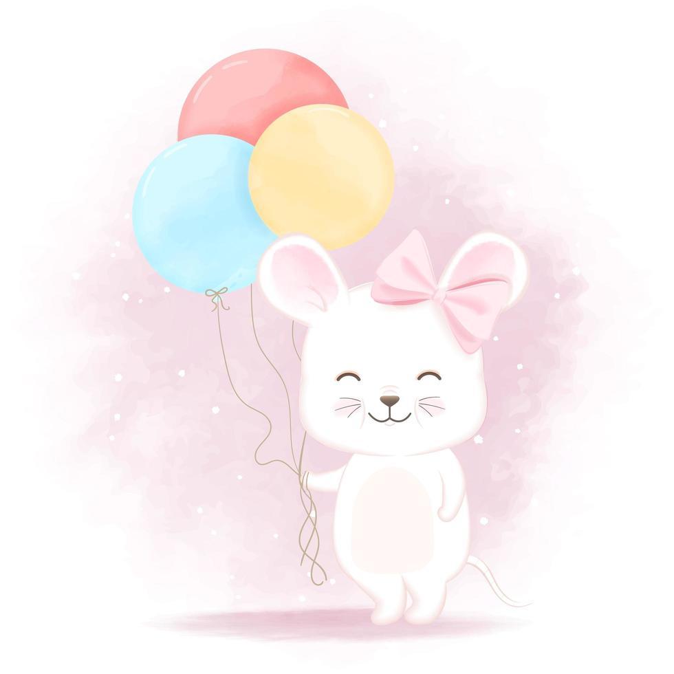 Souris Avec Illustration De Dessin Animé De Ballon à Minou Dessin