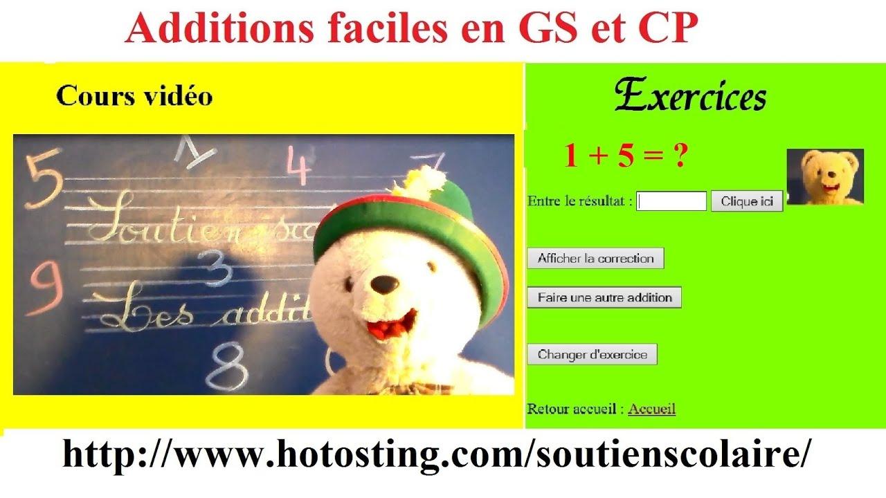 Soutien Scolaire Maternelle Maths En Ligne : Additions Faciles avec Exercice Gs En Ligne
