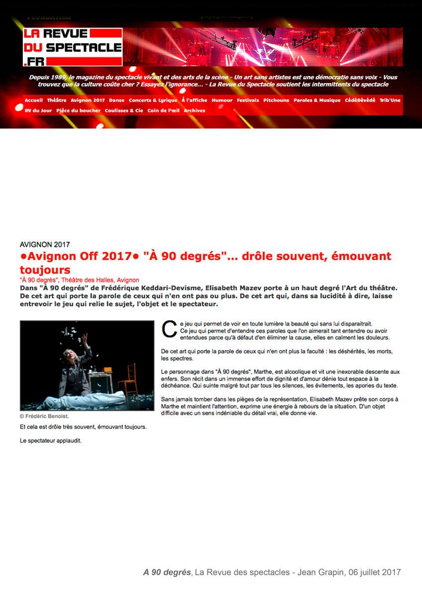 Spectacle A 90 Degrés - Frédérique Keddavi-Devisme à 90 Degrés Jeux
