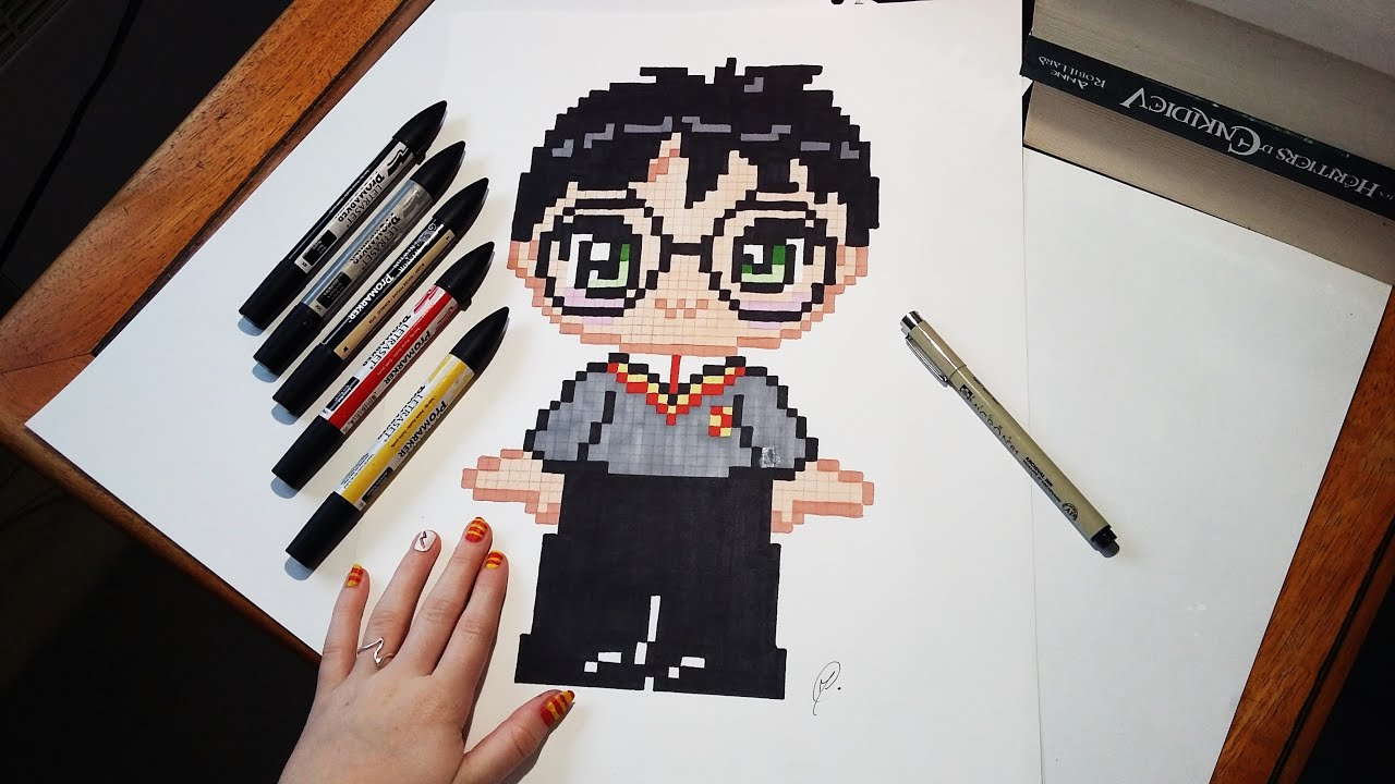 Speed Drawing Cute Harry Potter - Pixel Art concernant Dessin D Harry Potter