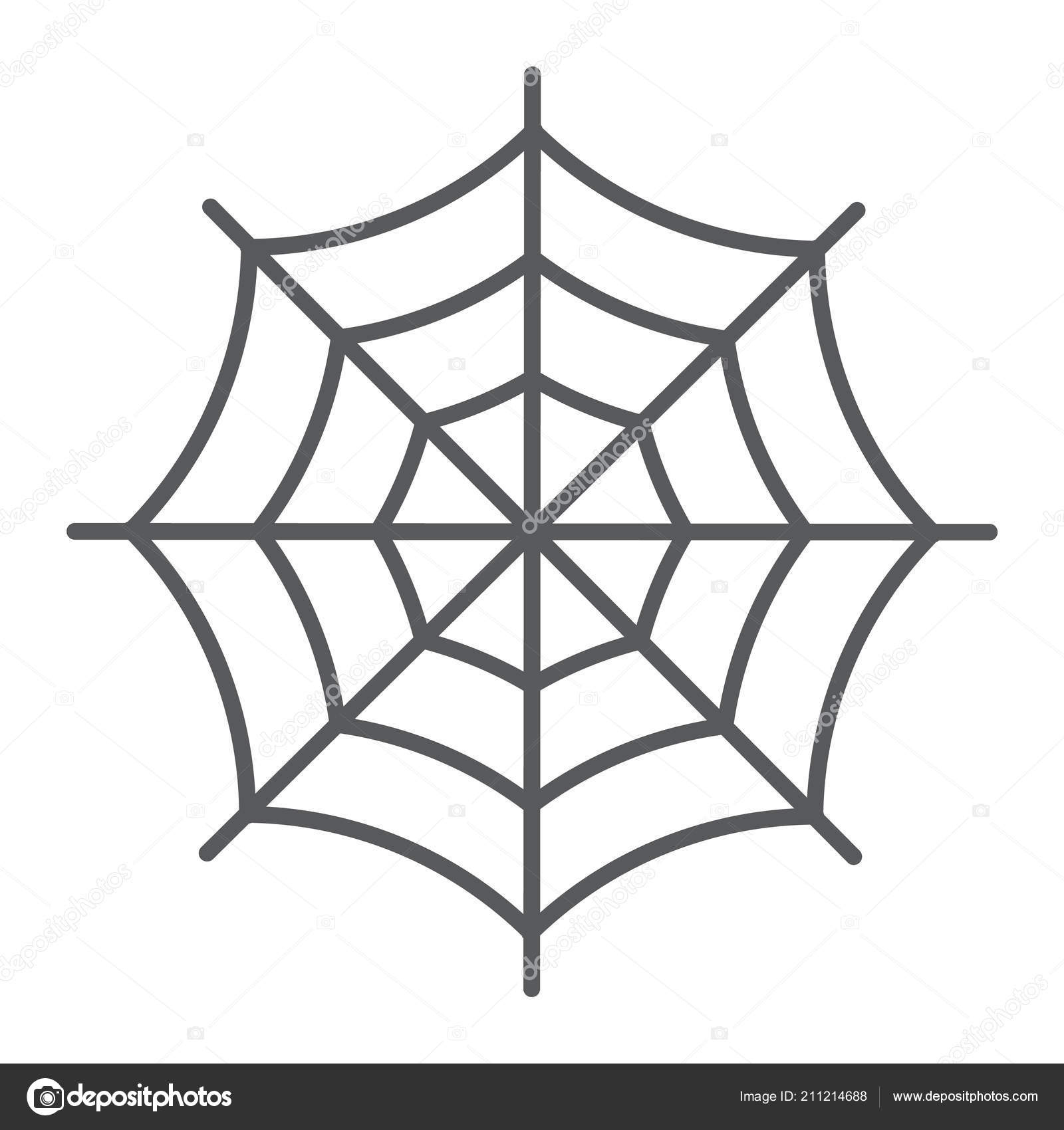 Spider Web Thin Line Icon, Halloween And Decoration, Cobweb pour Dessin D Halloween Facile A Dessiner