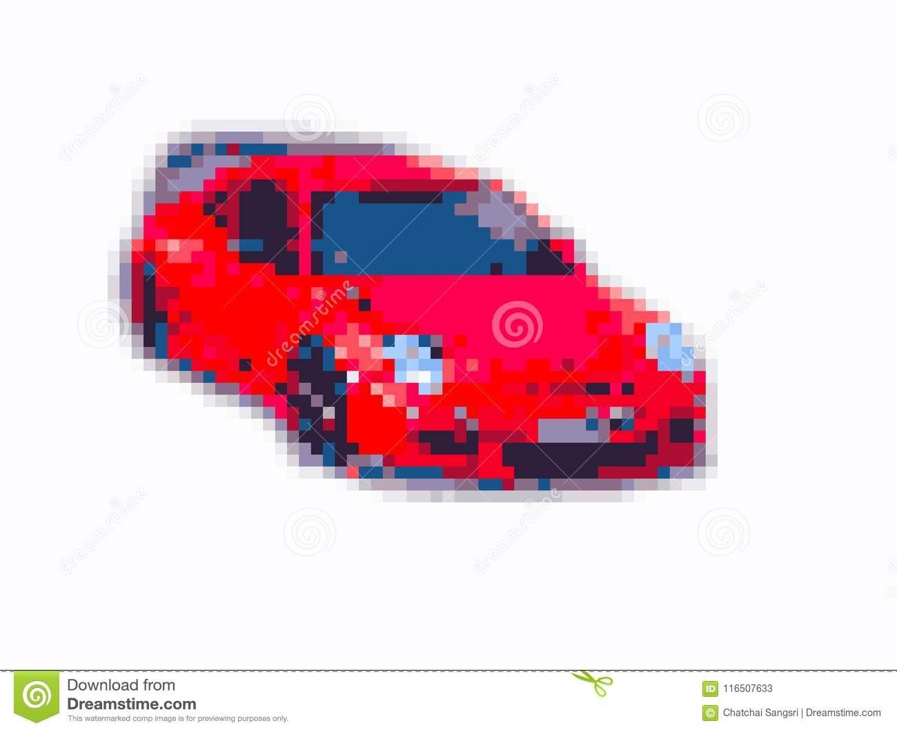 Sport Car 8 Bit Pixel Art Stock Illustration. Illustration serapportantà Voiture Pixel Art