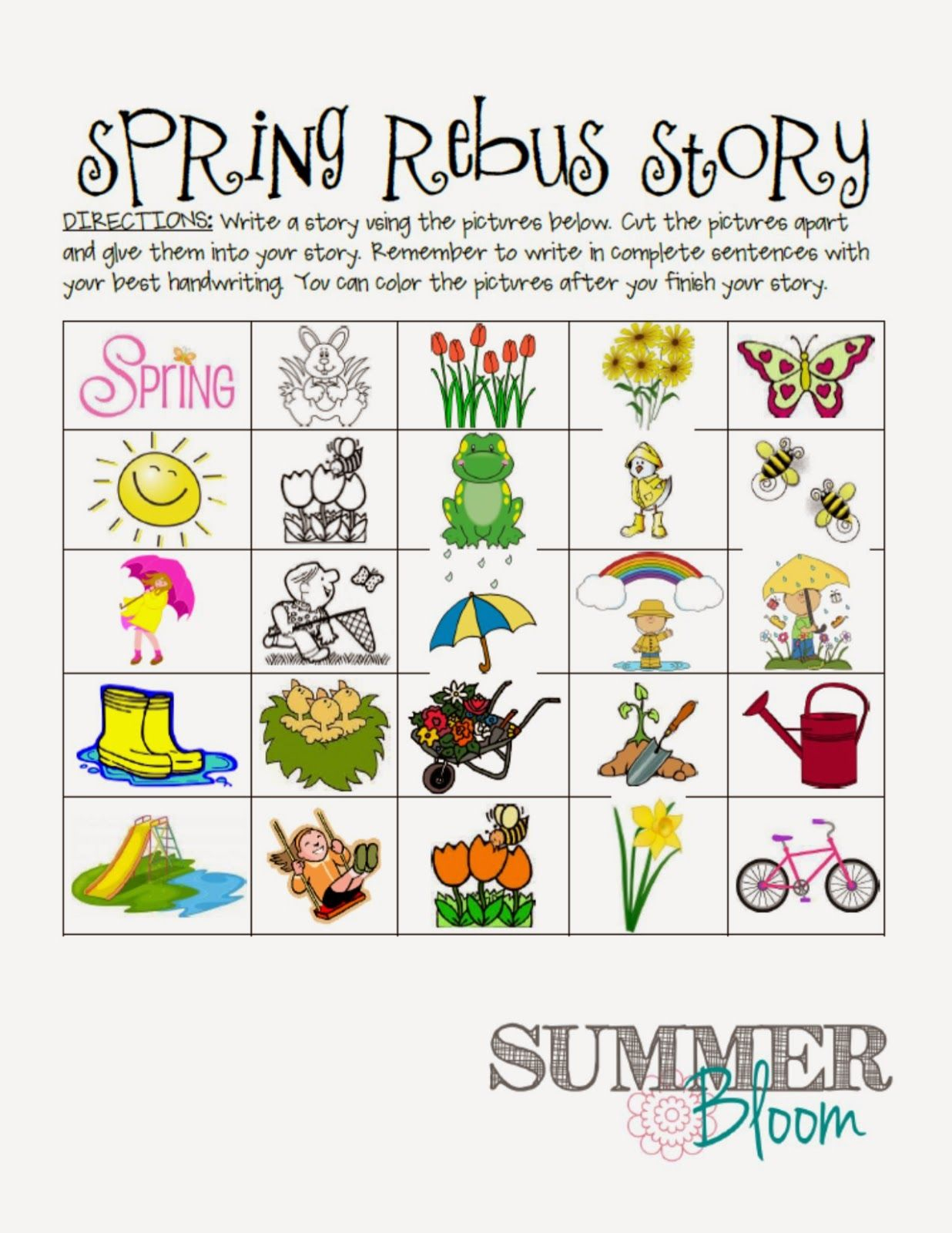 Spring Rebus Story Freebie- Perfect For Spring In A Work On pour Jeux Rebus