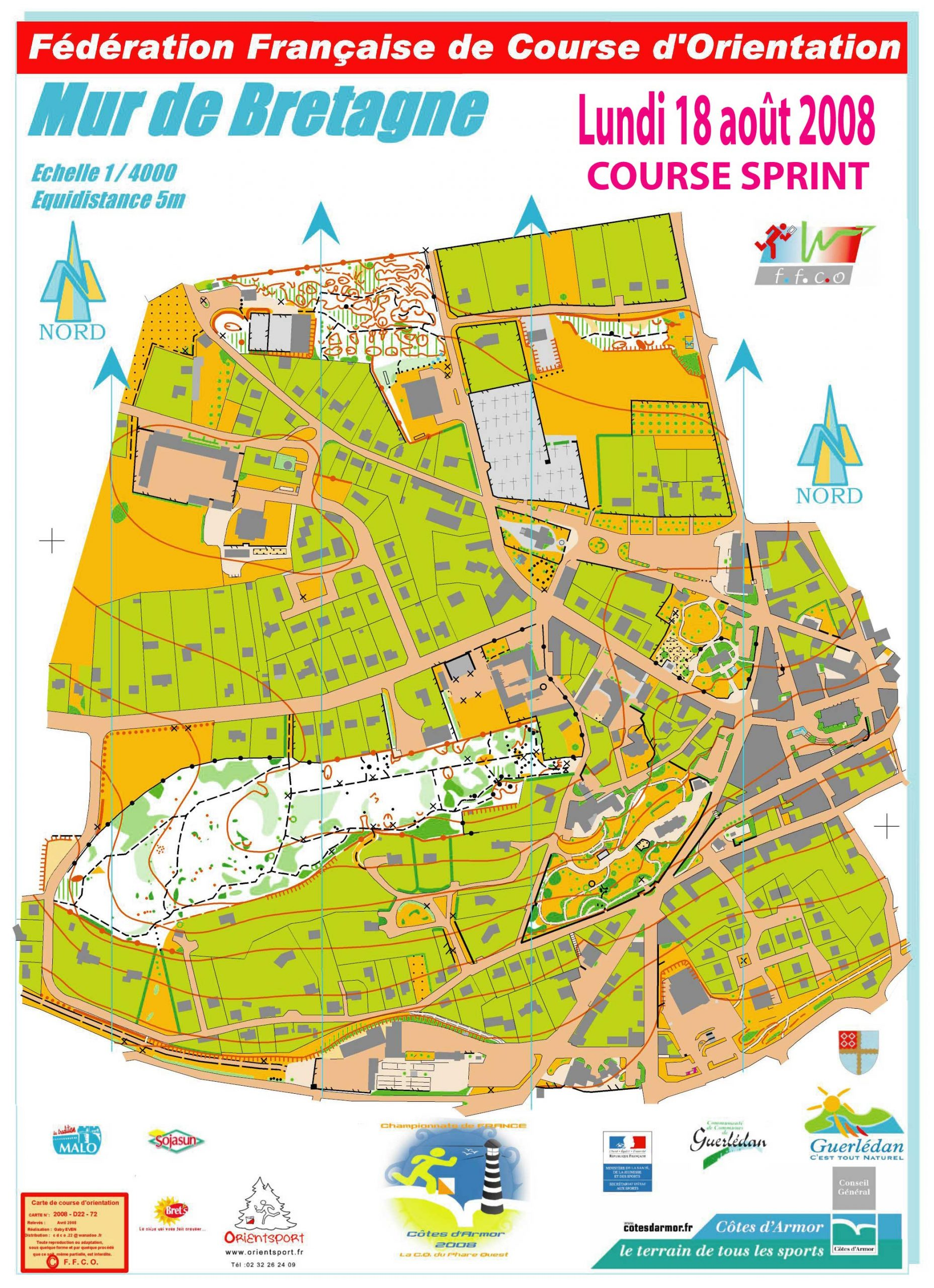 Sprint Mur De Bretagne - August 18Th 2008 - Orienteering Map concernant Carte De Fra