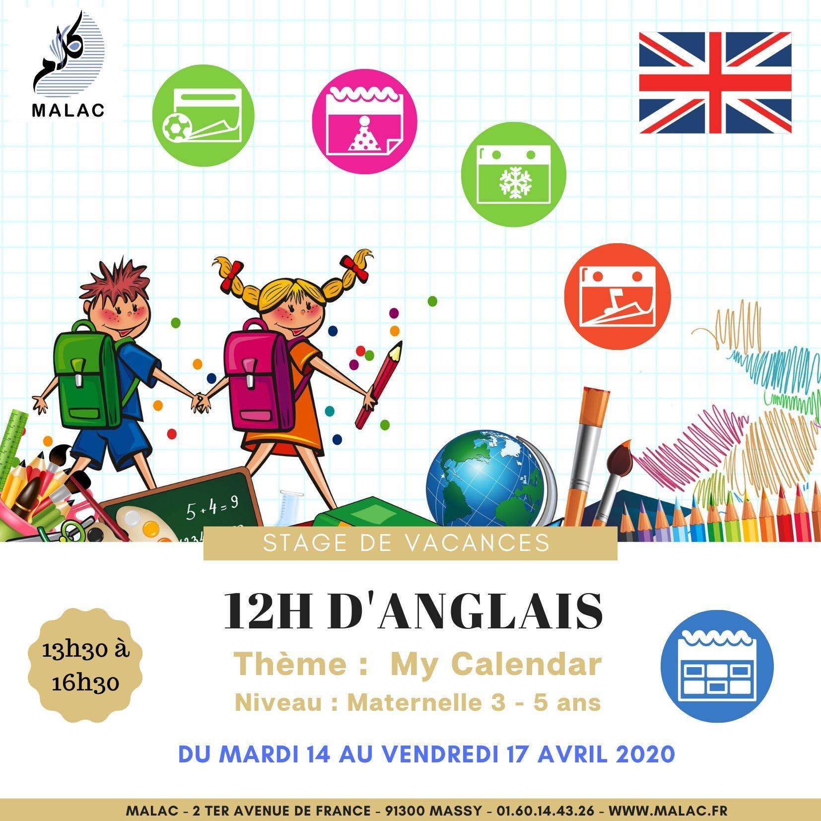"""Stage """"anglais"""" Niveau Maternelle Du 14 Au 17 Avril 2020 - Malac concernant Cahier De Vacances Maternelle À Imprimer"""