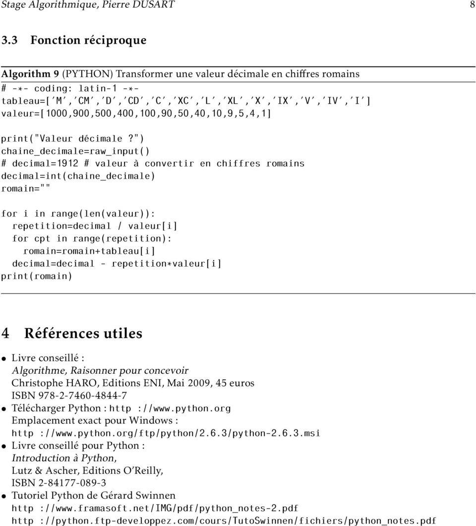 Stage D Algorithmique : Chiffre(S) Romain(S) - Pdf intérieur Exercice Chiffre Romain