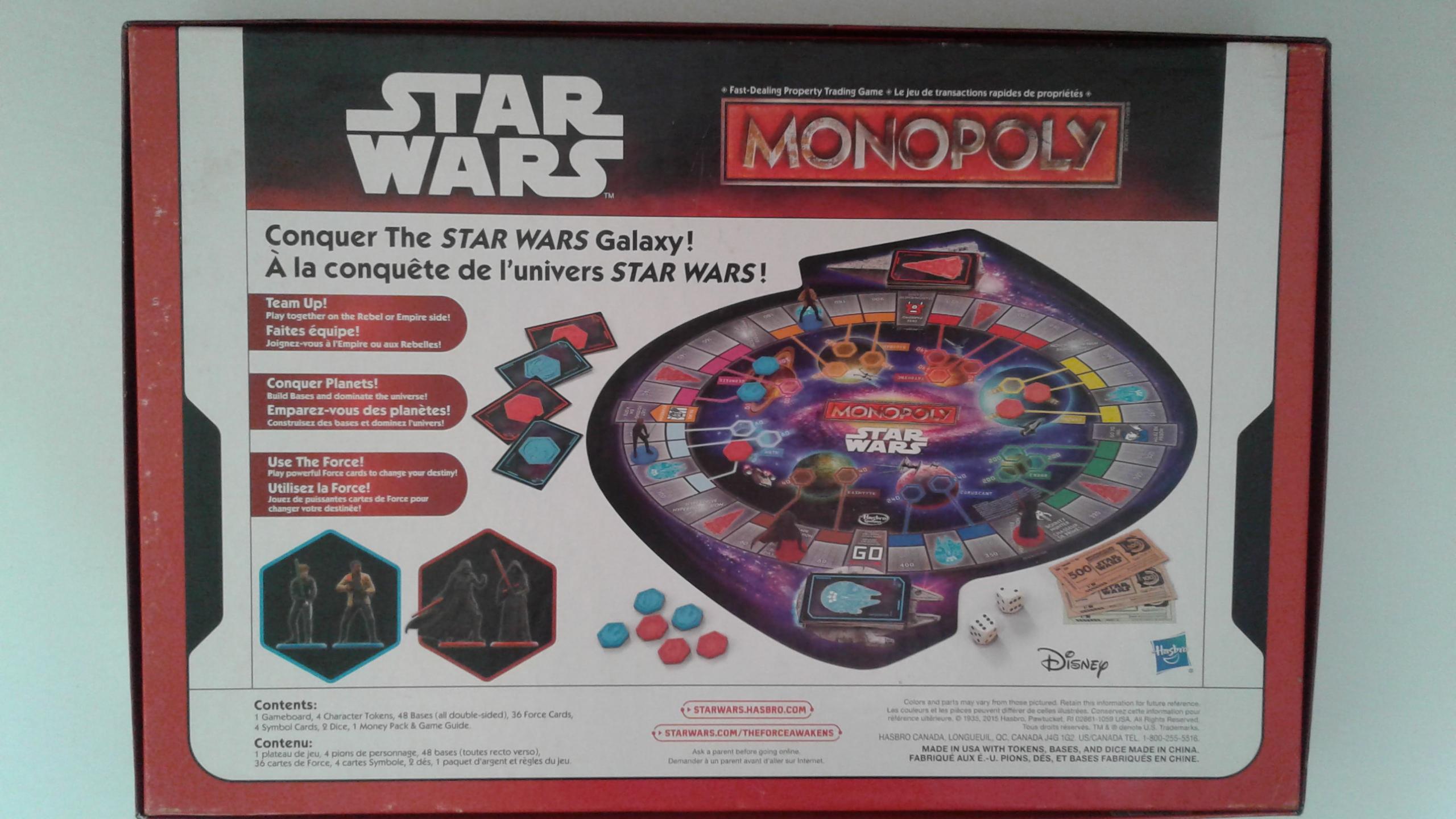 Star Wars Monopoly Board Game dedans Jeu Force 4