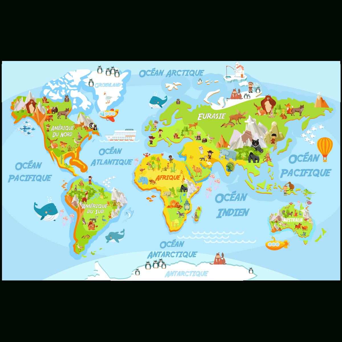 Sticker Carte Du Monde Éducatif Pour Les Enfants concernant Carte Du Monde Enfant
