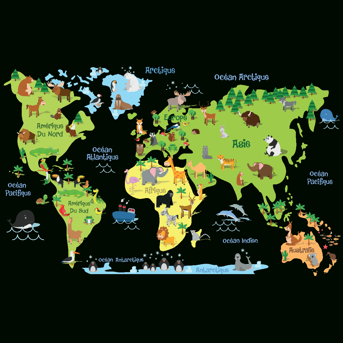 Sticker Carte Du Monde Enfants intérieur Carte Du Monde Enfant