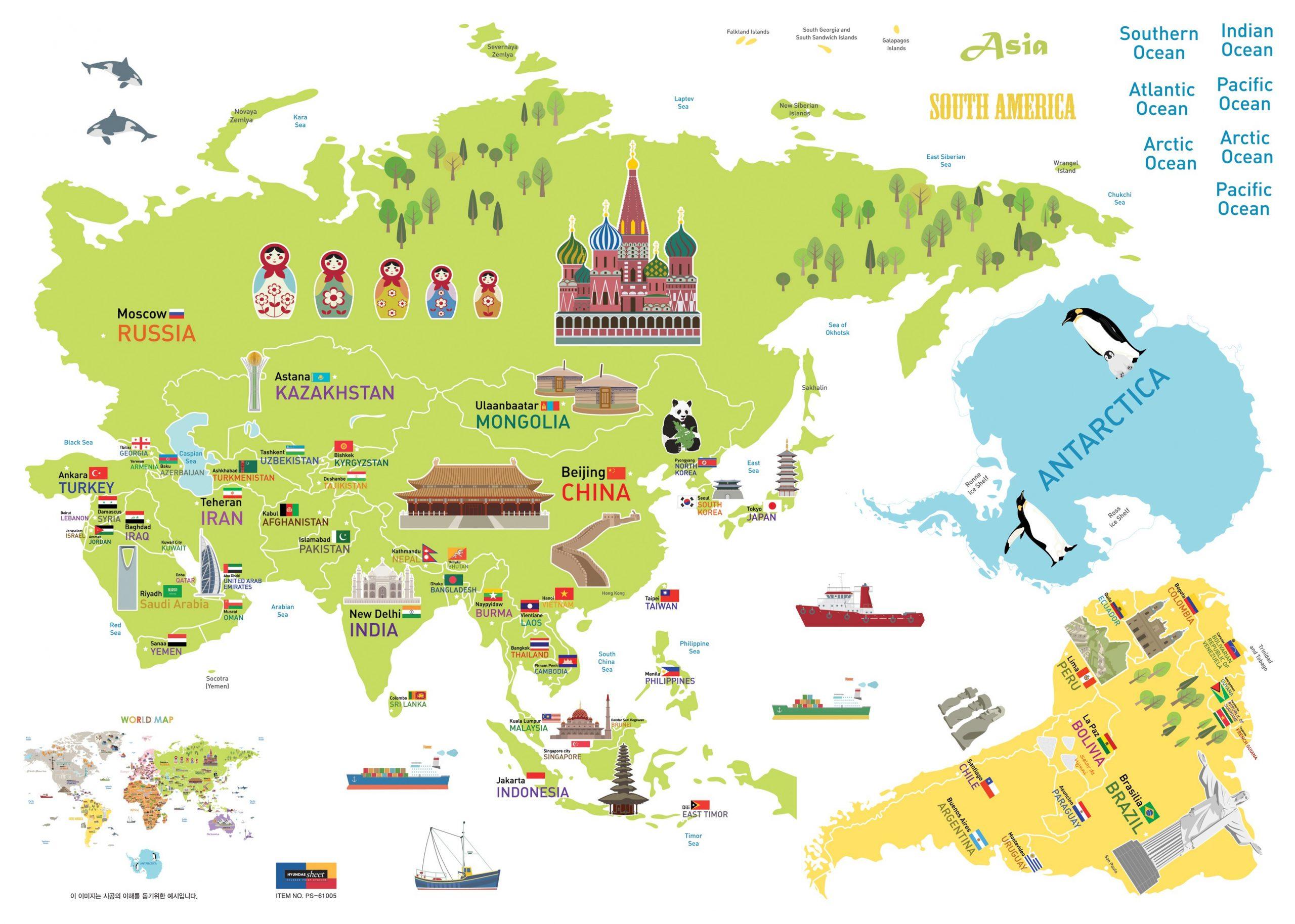 Sticker Carte Du Monde Géante Pour Enfants concernant Carte Du Monde Enfant