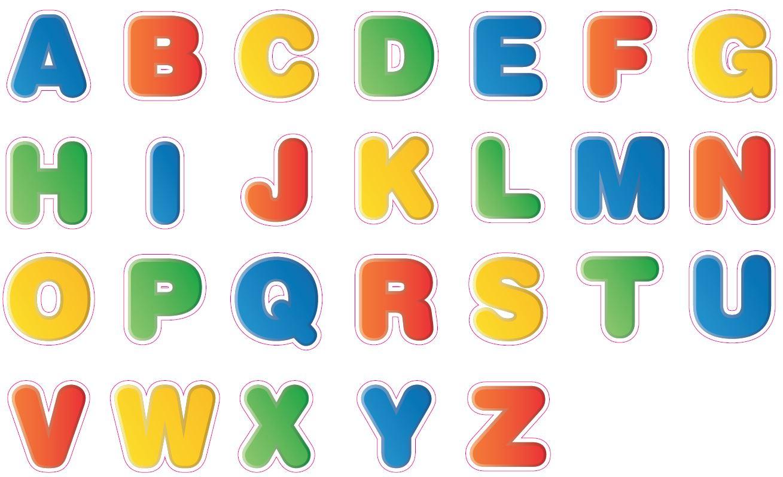 Sticker Déco, Alphabet Coloré Majuscule 68*100Cm avec L Alphabet En Majuscule