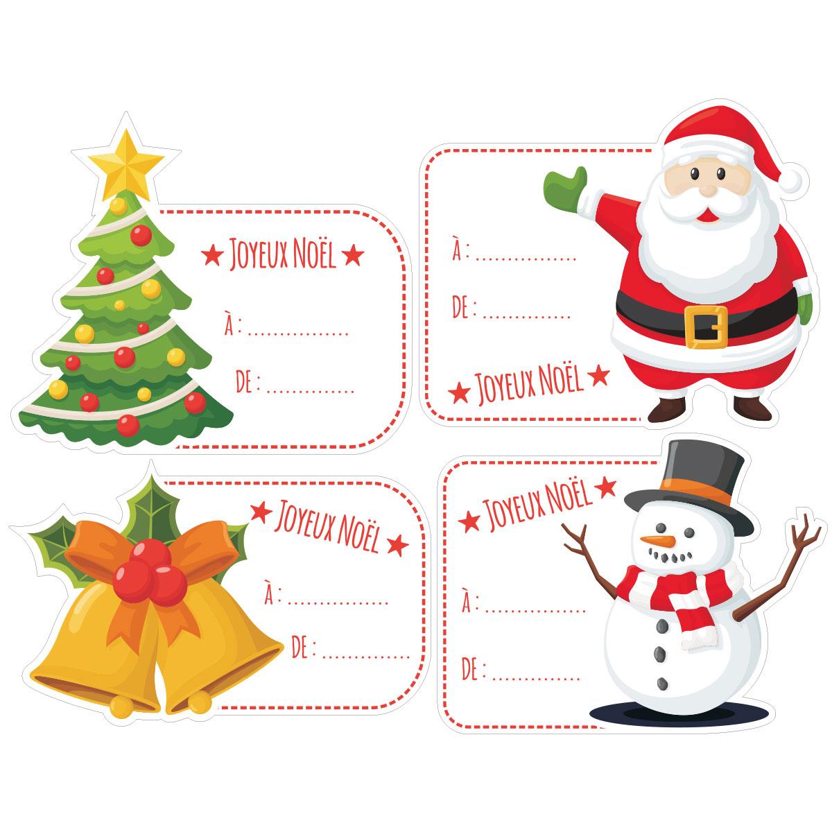 Sticker Noël 4 Étiquettes Pour Cadeaux avec Etiquette Pour Cadeau De Noel
