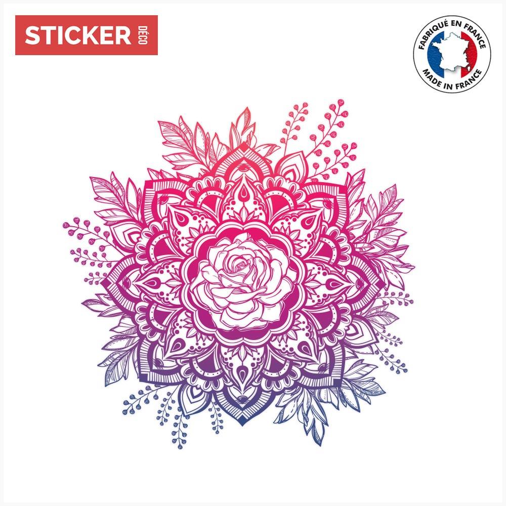 Sticker Rosace Rose Mandala - Stickers Mandalas | Stickerdeco.fr serapportantà Image De Rosace