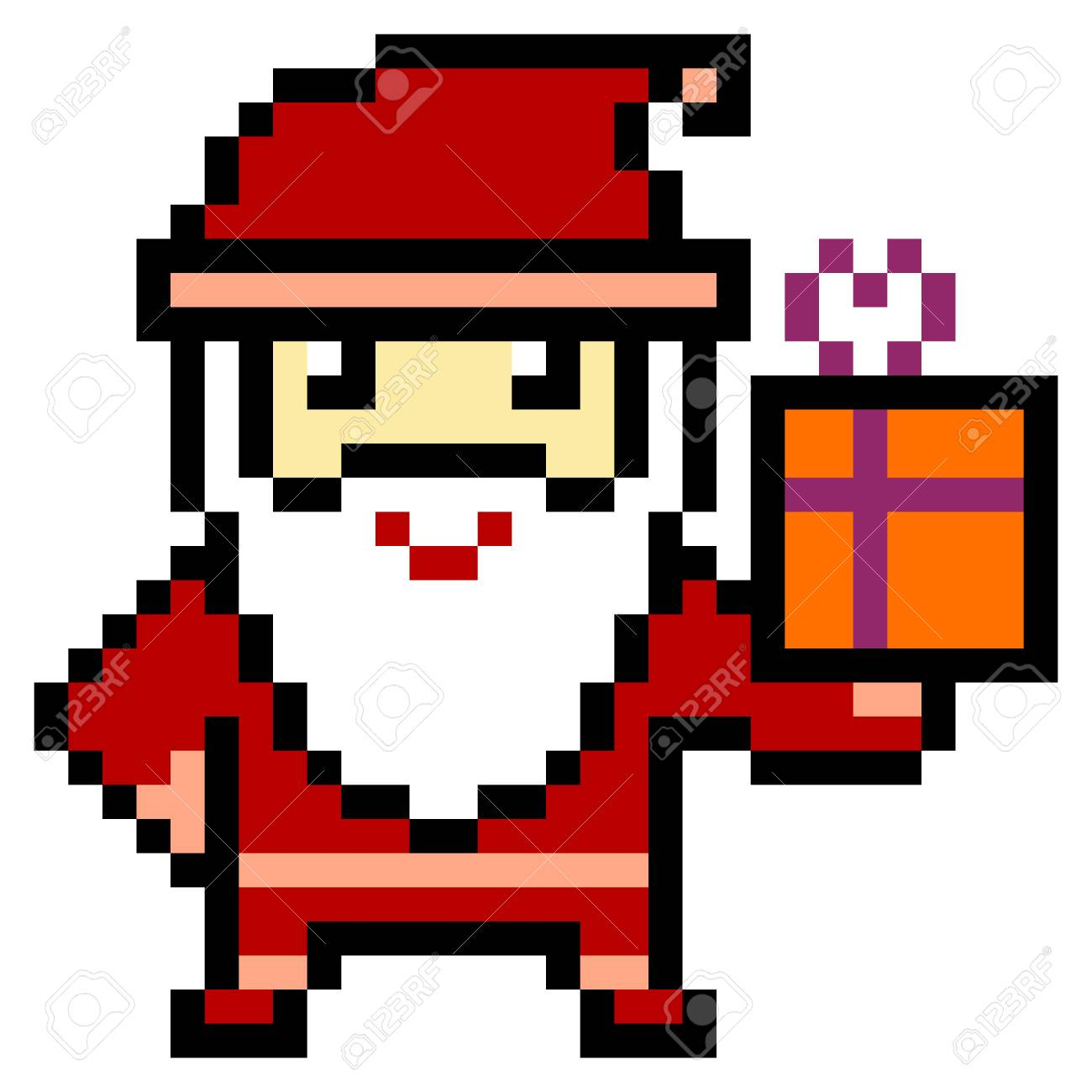 Stock Illustration serapportantà Pixel Art Pere Noel