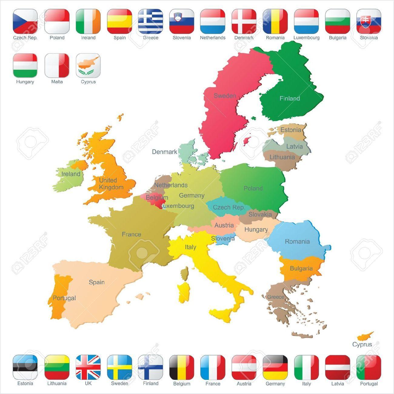 Stock Photo | Carte Union Européenne, Drapeau Et Banque Image destiné La Carte De L Union Européenne