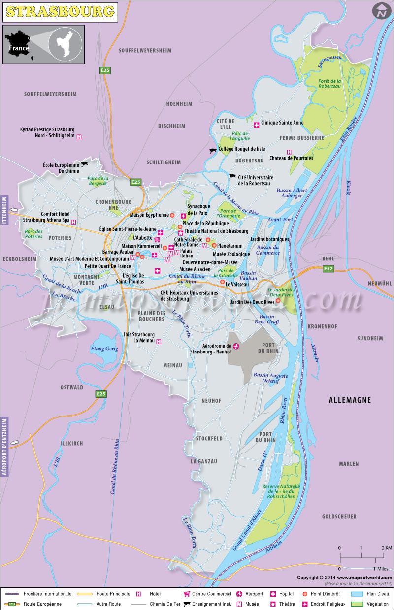 Strasbourg Carte, Carte De Ville De Strasbourg, France encequiconcerne Carte De France Grande Ville