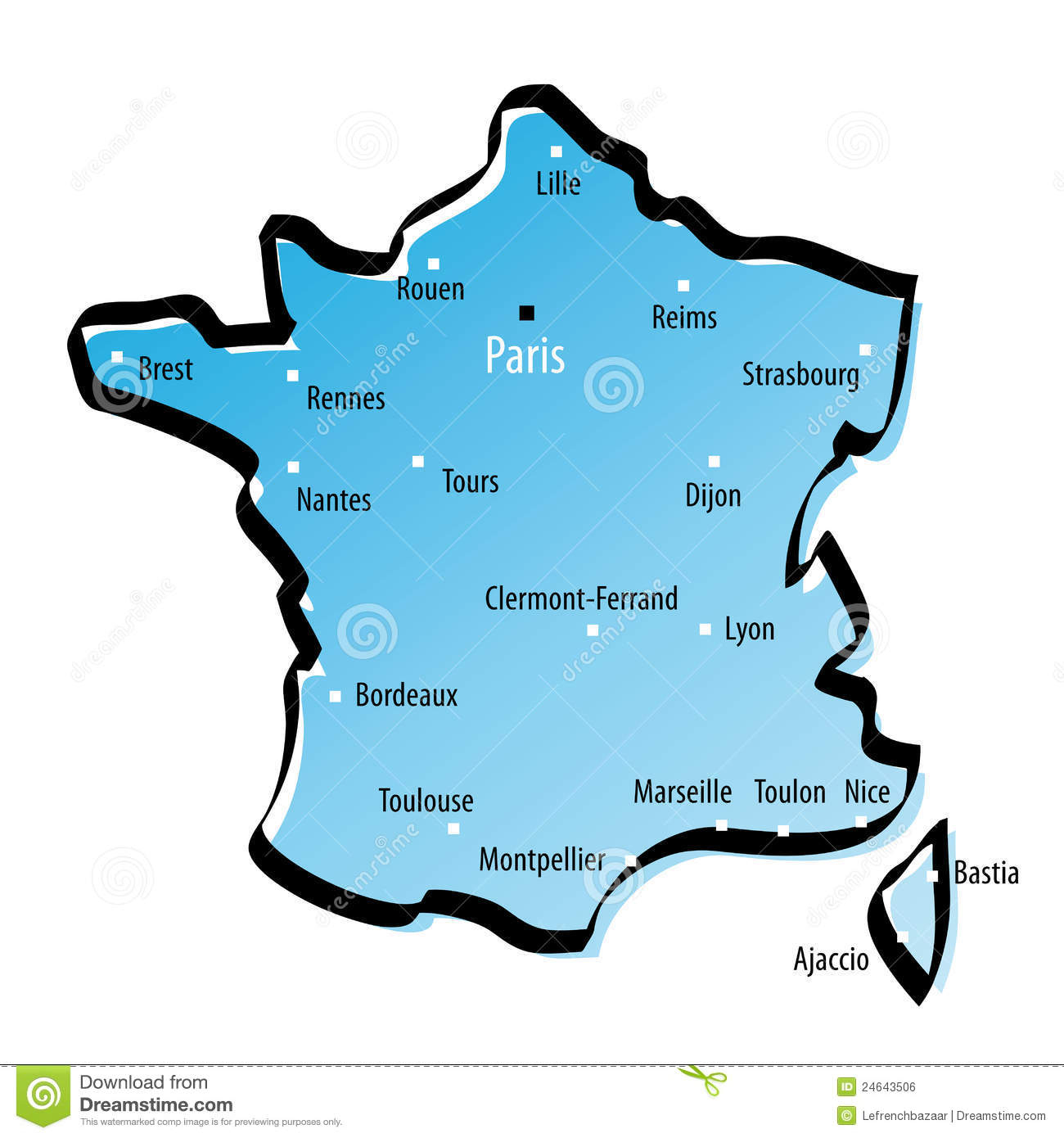 Stylized Map Of France Stock Vector. Illustration Of Area serapportantà Carte De La France Avec Ville