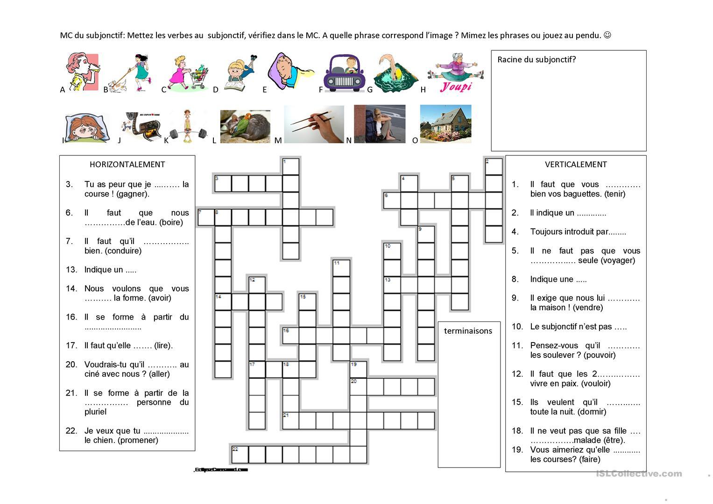 Subjonctif En Mots Croisés - Français Fle Fiches Pedagogiques encequiconcerne Résultats Mots Croisés