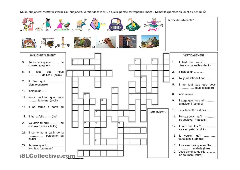 Subjonctif En Mots Croisés | Mots Croisés, Le Subjonctif Et tout Mots Croisés Cm2 À Imprimer
