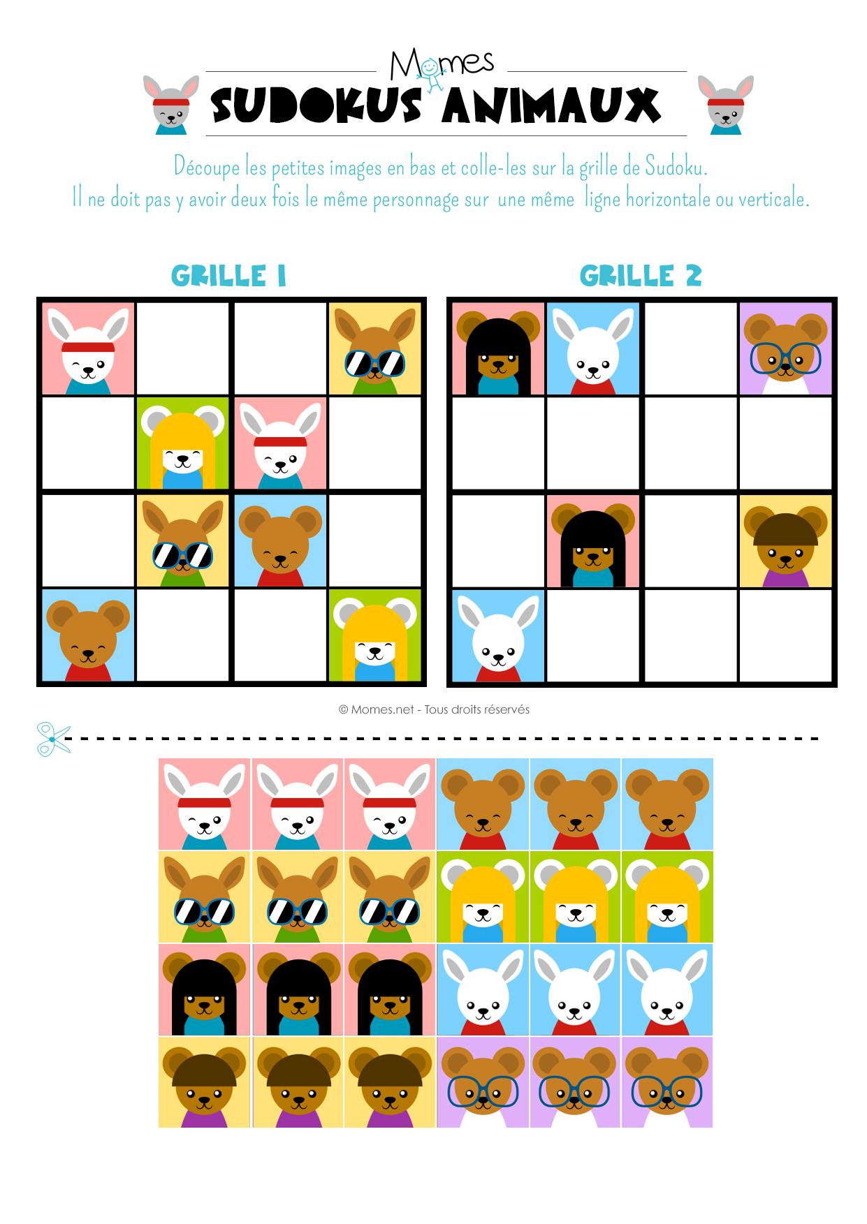 Sudoku Animaux - Momes pour Jeux De Maternelle À Imprimer