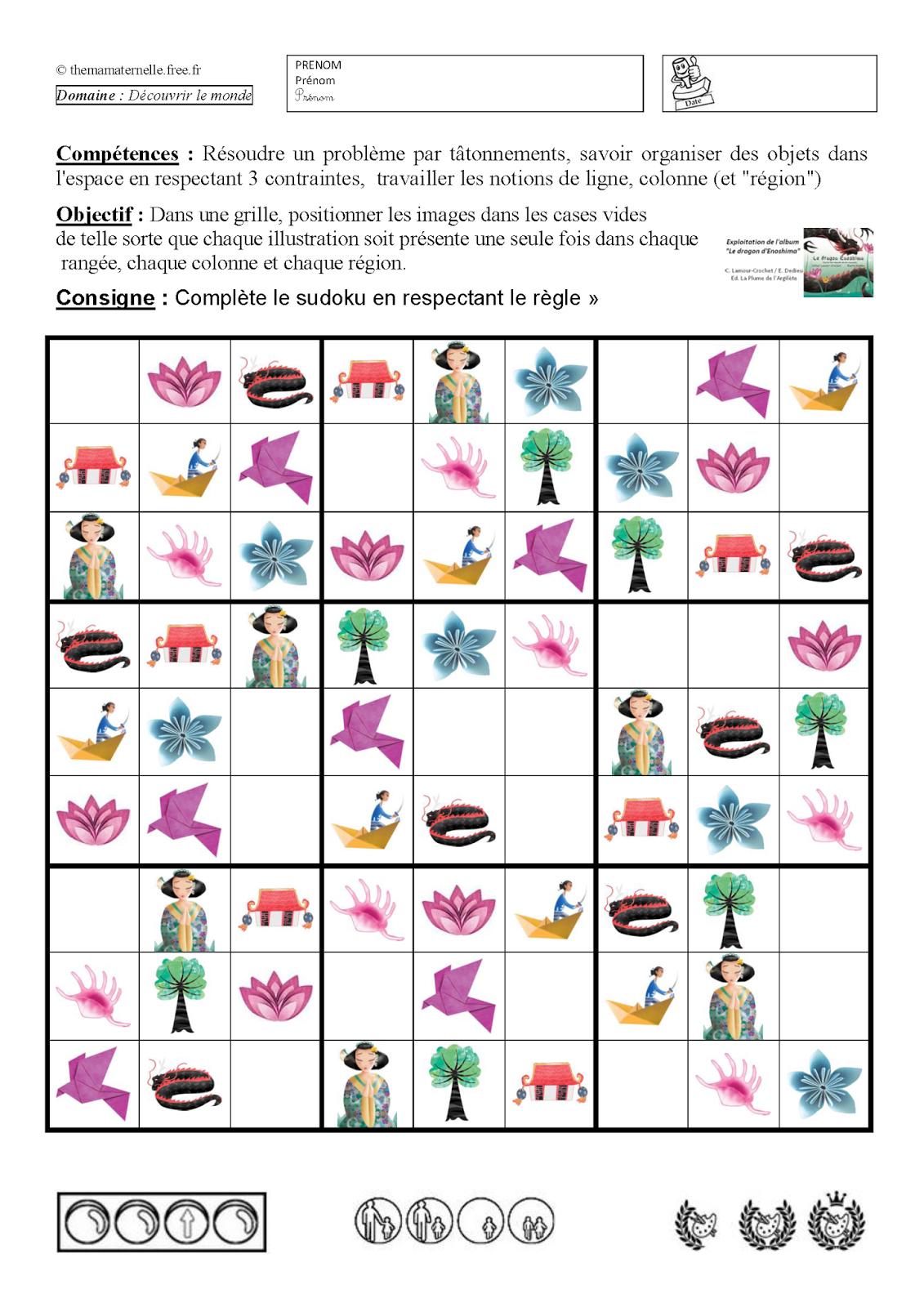 Sudoku | Chine Maternelle, Jeux A Imprimer, Idées Pour L'école encequiconcerne Sudoku Animaux À Imprimer