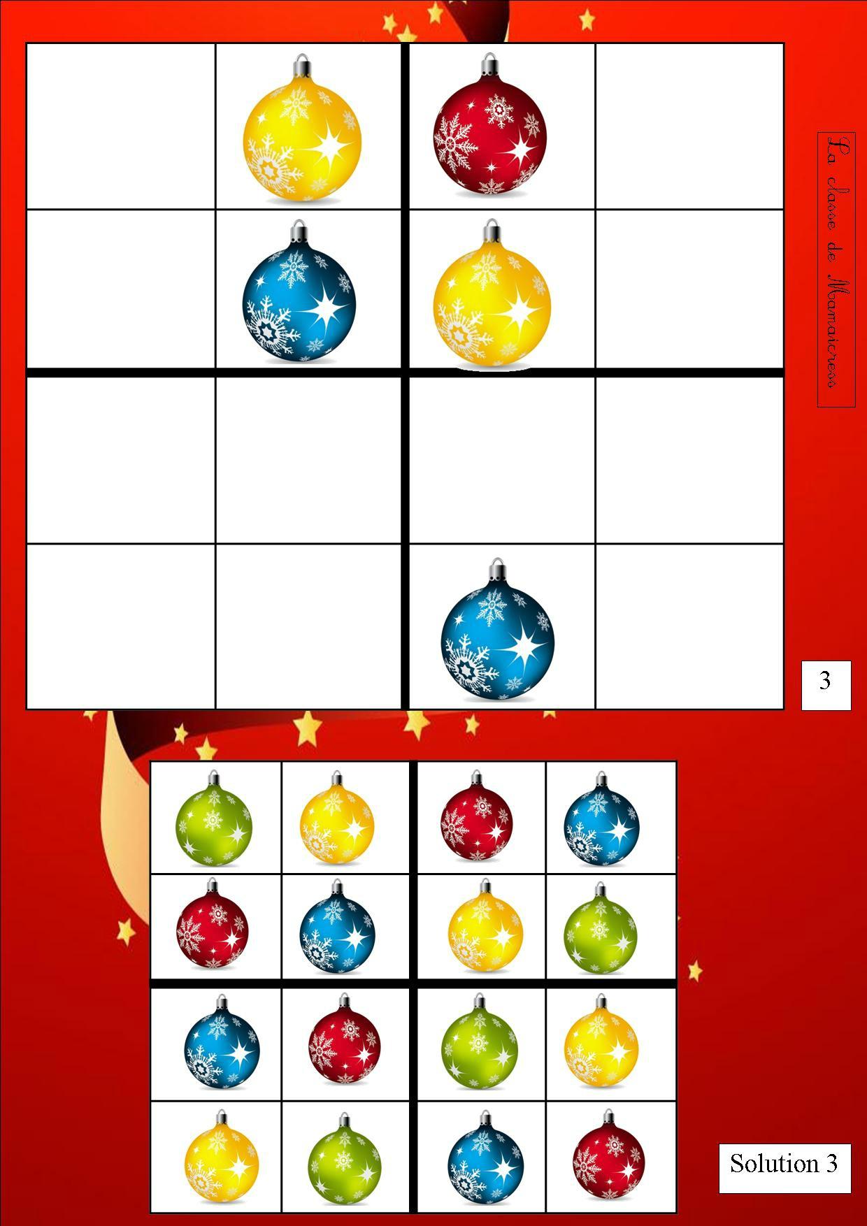 Sudoku De Noël - La Classe De Mamaicress avec Sudoku Maternelle À Imprimer