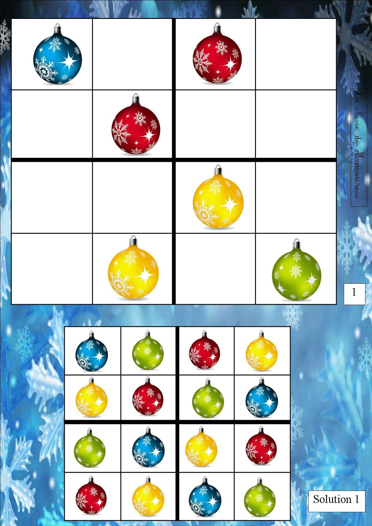 Sudoku De Noël - La Classe De Mamaicress dedans Sudoku Animaux À Imprimer