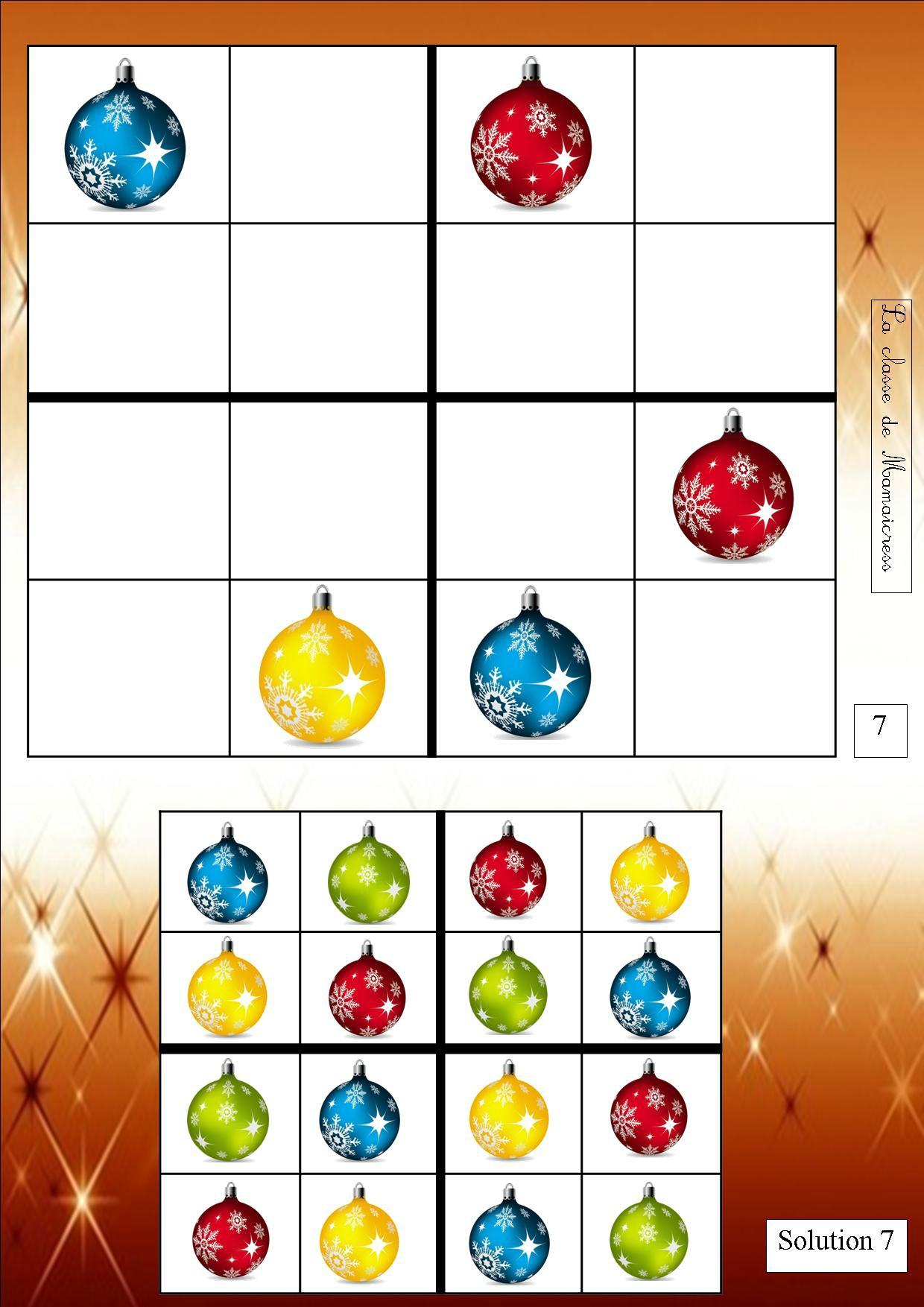Sudoku De Noël - La Classe De Mamaicress serapportantà Sudoku Maternelle À Imprimer