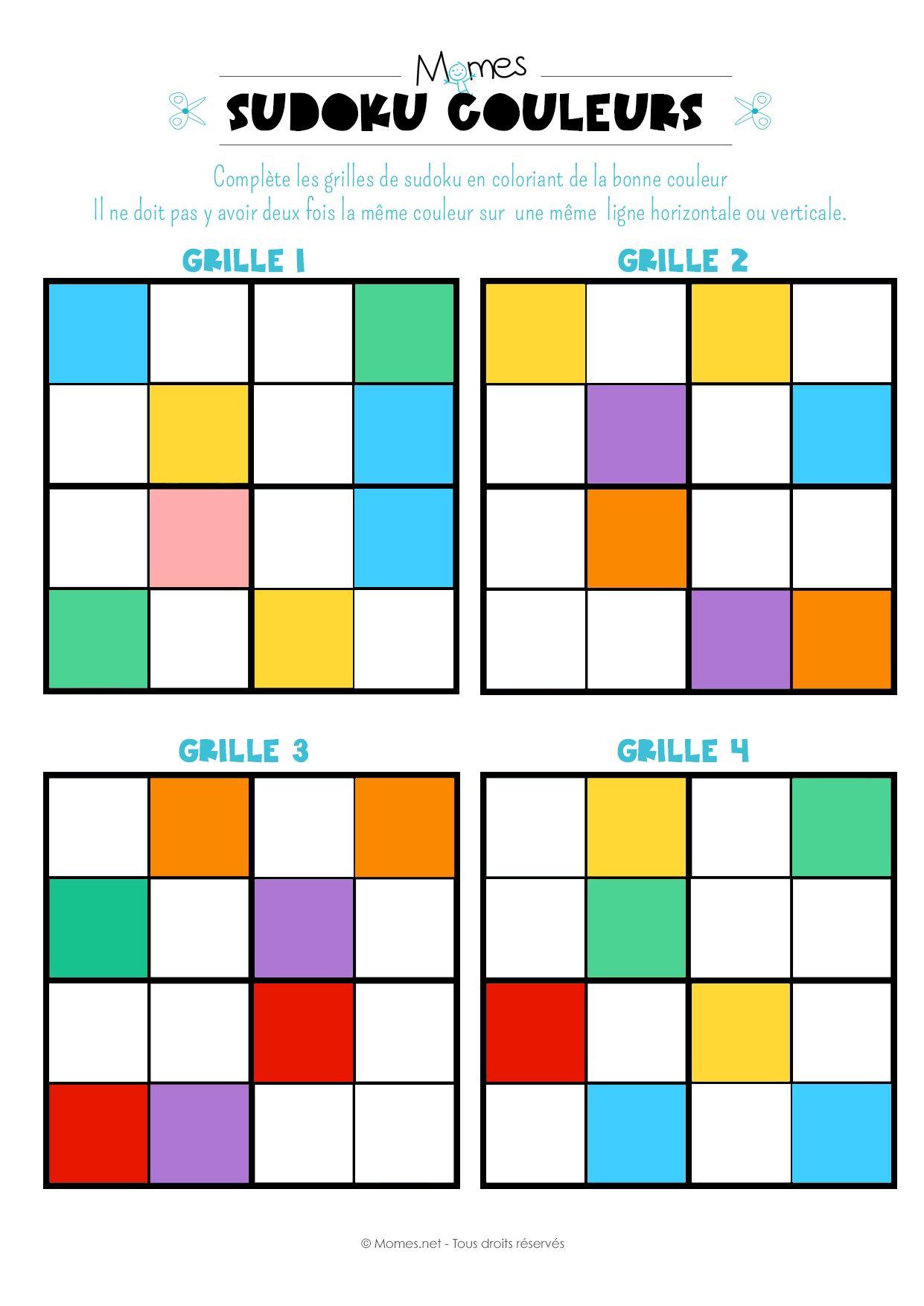 Sudoku Des Couleurs | Logic Games, Logic Puzzles, Kids Playing concernant Sudoku A Imprimer