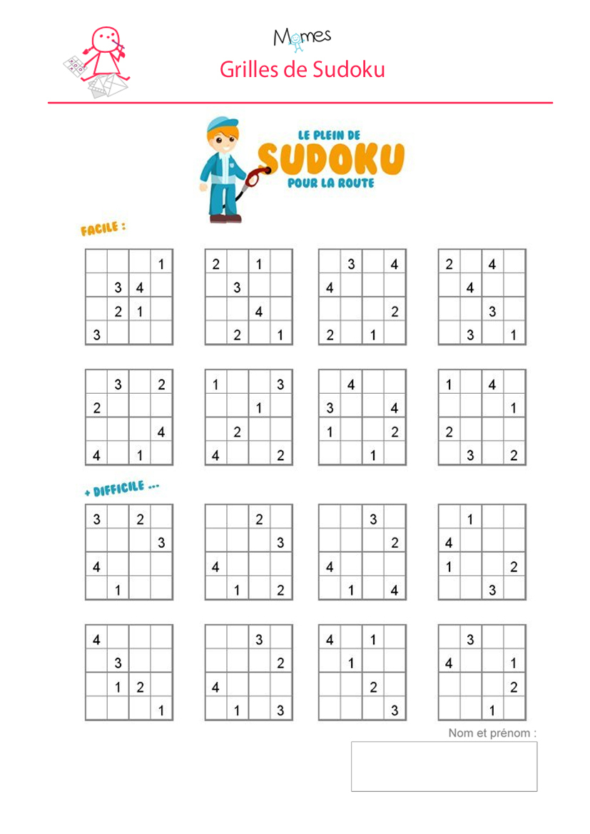 Sudoku Enfant À Imprimer - Momes à Jeux Educatif 5 6 Ans