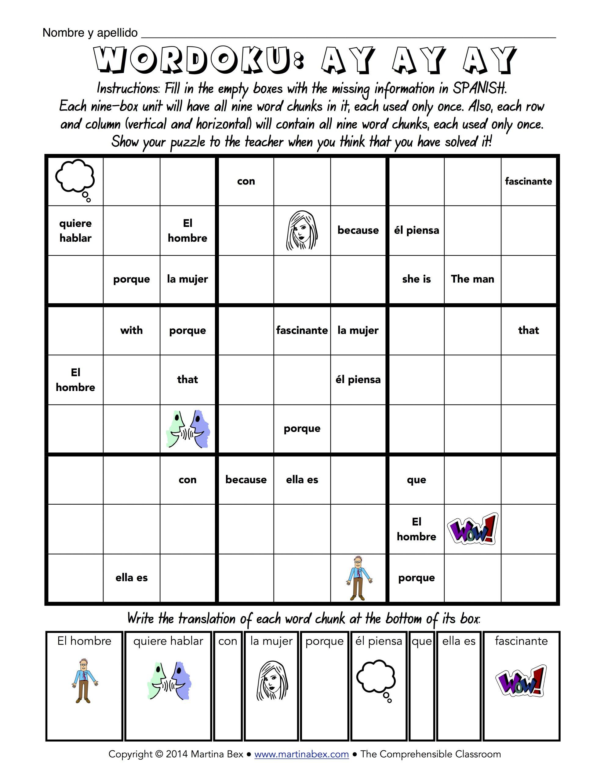 Sudoku In Spanish Worksheet | Printable Worksheets And à Sudoku A Imprimer