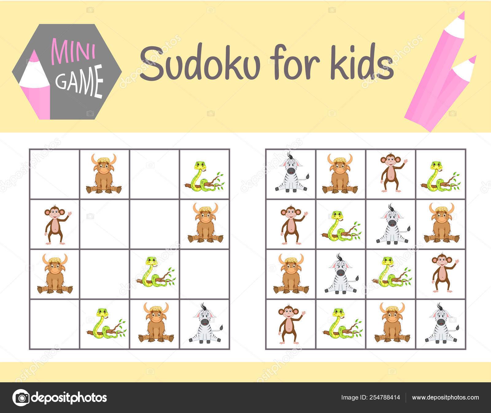 Sudoku Jeu Pour Les Enfants Avec Des Images Et Des Animaux dedans Jeu Logique Enfant