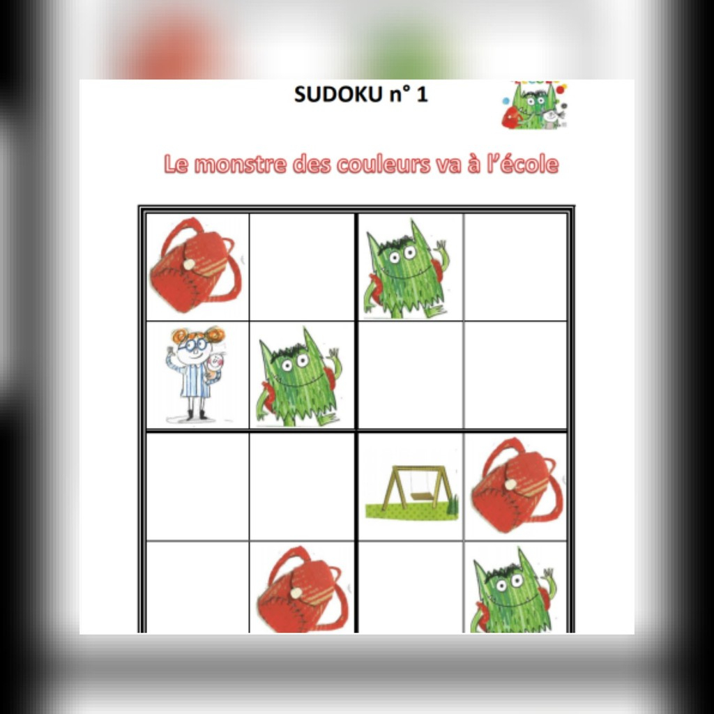 Sudoku : Le Monstre Des Couleurs Va À L'école - Mes Tresses concernant Sudoku Maternelle À Imprimer