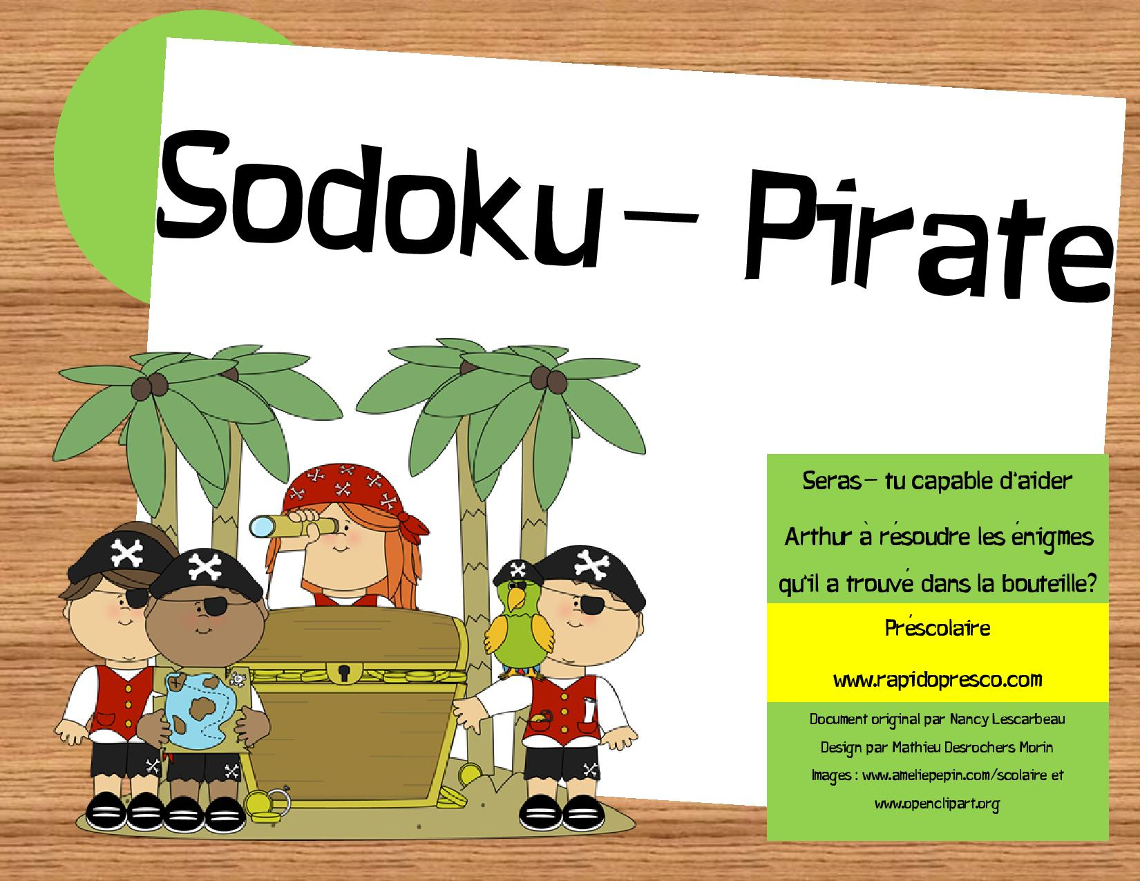 Sudoku-Pirate – Rapido-Présco serapportantà Sudoku Animaux À Imprimer