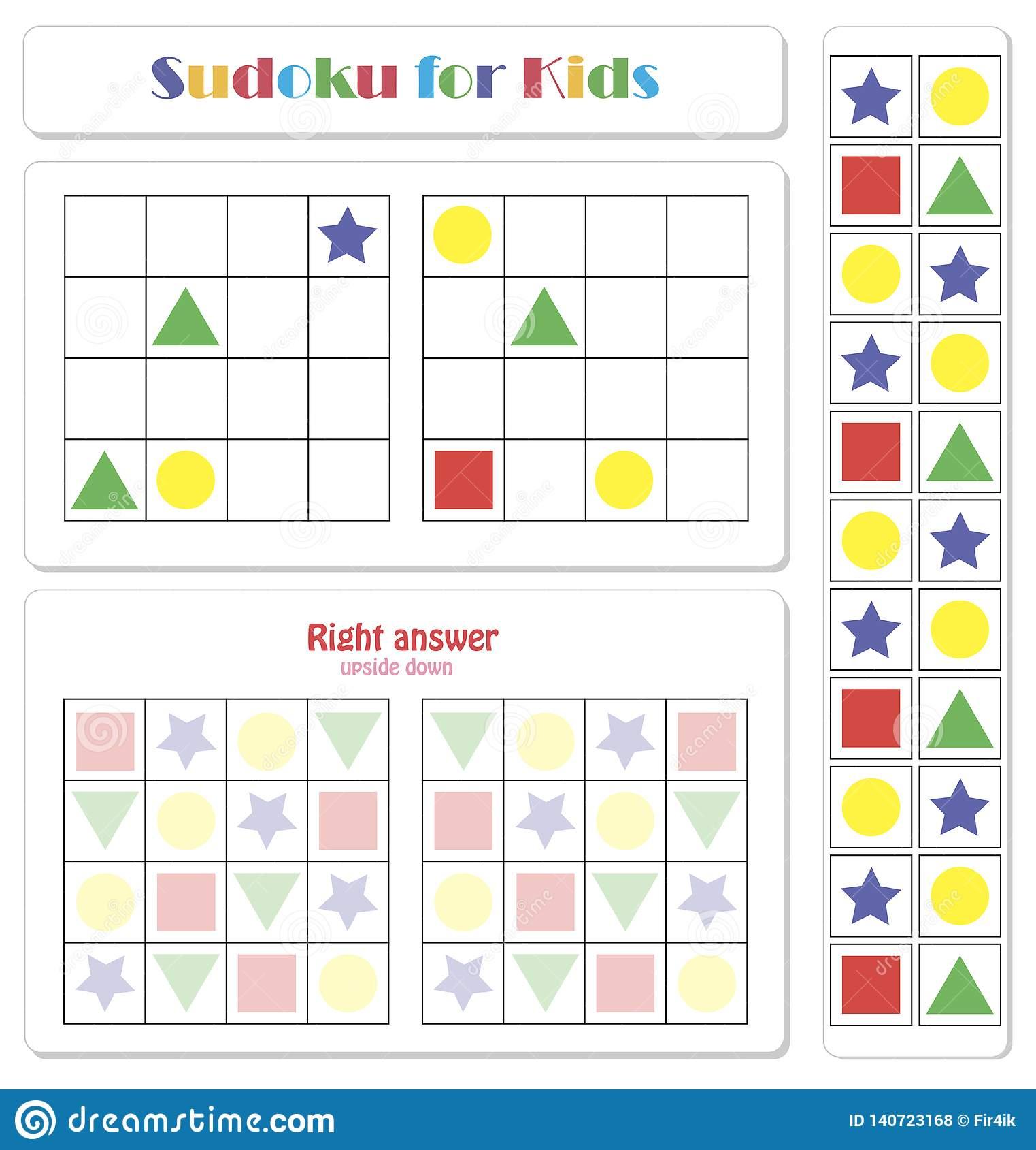 Sudoku Pour Des Enfants Avec Les Figures Géométriques intérieur Sudoku Pour Enfant
