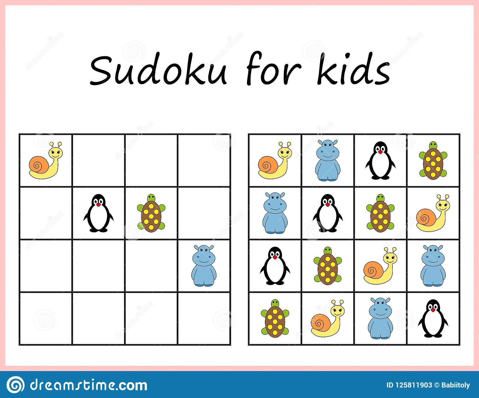 Sudoku Pour Des Gosses Jeu Pour Les Enfants Préscolaires concernant Sudoku Pour Enfant