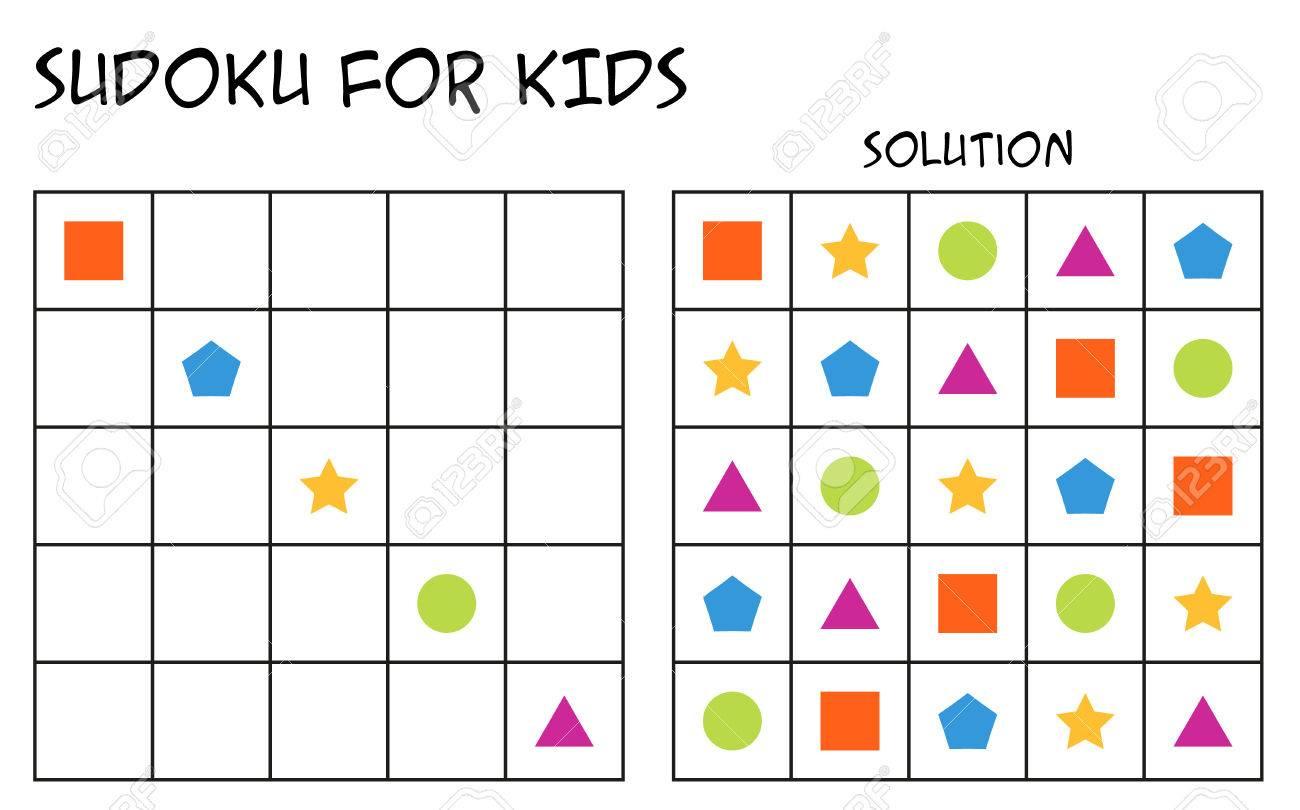 Sudoku Pour Les Enfants Avec Solution, Puzzle Pour Les Enfants À Remplir  Chaque Ligne Ou Colonne Avec Une Seule De Chaque Forme, Tâche Mentale, Défi à Puzzle En Ligne Enfant