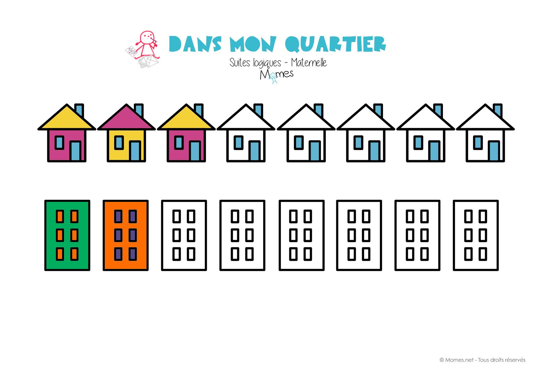 Suite Logique : Les Maisons - Momes serapportantà Exercice Maternelle Moyenne Section À Imprimer