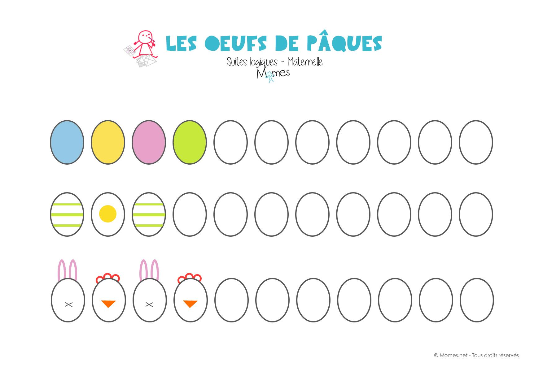Suites Logiques Spécial Pâques ! - Momes avec Graphisme Maternelle A Imprimer Gratuit