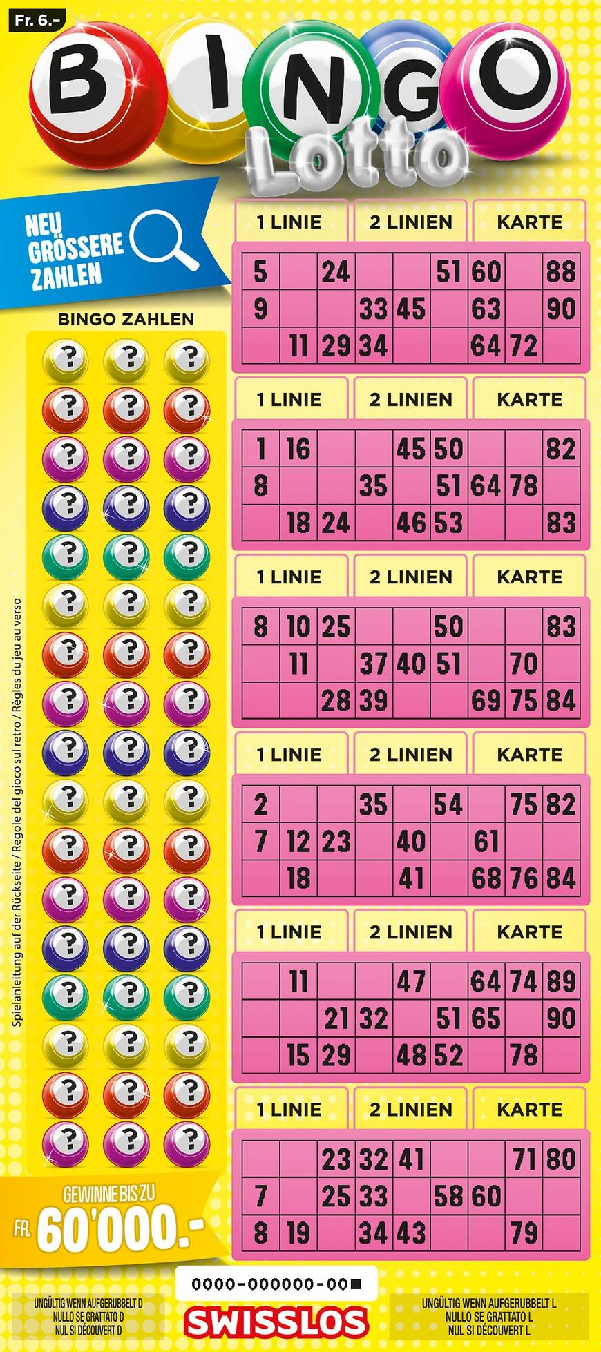 Swisslos | Billets | Bingo Lotto – Gagner Jusqu'à 60'000 Francs à Billet À Imprimer Pour Jouer